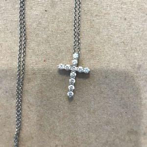 Tiffany's diamond platinum cross pendant necklace
